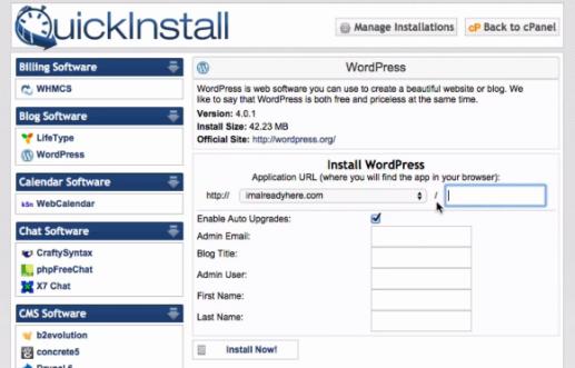 Wordpress quick install
